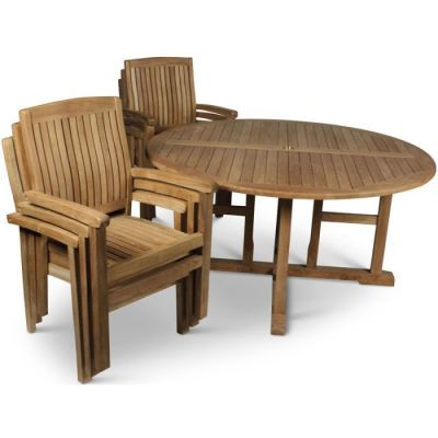 Beckley Large 6 Person Dining Table And Stacking Armchair Set