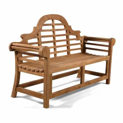 Lutyens 3 Person Teak Bench - Front Angled