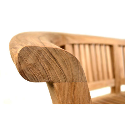Shenley Three Person Teak Bench Closeup