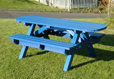 Heavy Duty Picnic Bench Extended Top - Blue