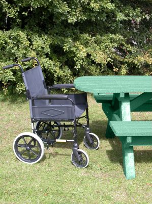 Heavy Duty Picnic Bench Extended Top - Green