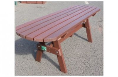 Parthenia Easy Clean Recycled Plastic A Table Extended Top Brown