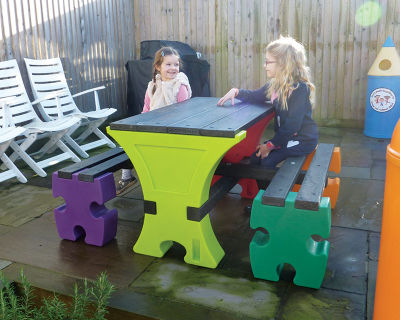 Jigsaw Table And Bench Set 1