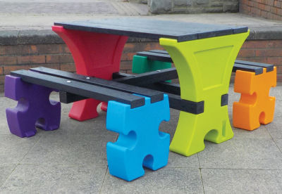 Jigsaw Table And Bench Set 3