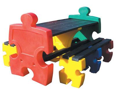 Multicoloured Jigsaw Table & Bench