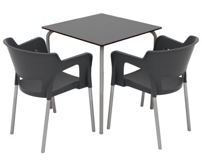 Two Person Ivora Rear Aperture Armchair & Table Set - Anthracite