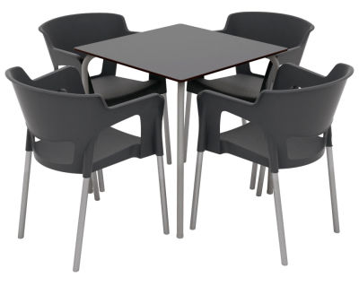 Open-backed Armchair & Table Set - Anthracite