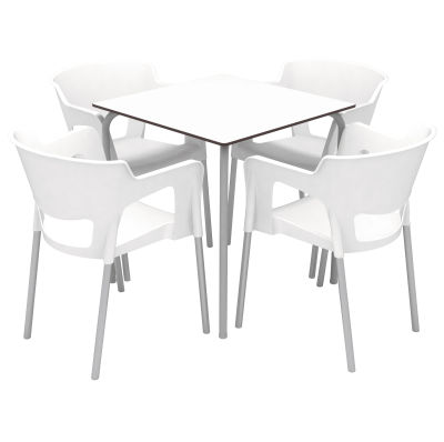 Open-backed Armchair & Table Set - White