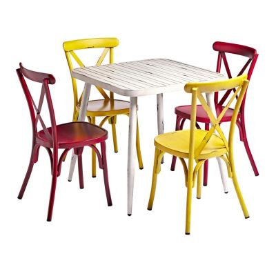 Angelica White Bistro Table & Chair Bundle 2
