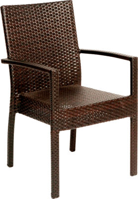 Rattan Weave Wenge Open Armchair