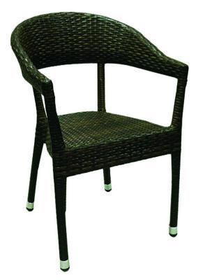 Pvc Weave Open Armchair In Wenge