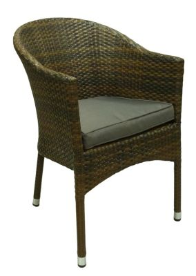 Outdoor PVC Wicker Tub Chair In Wenge