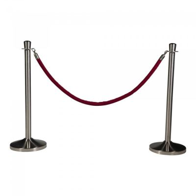 Fern Rope Barrier Post - Polished Stainless Steel Red Rope