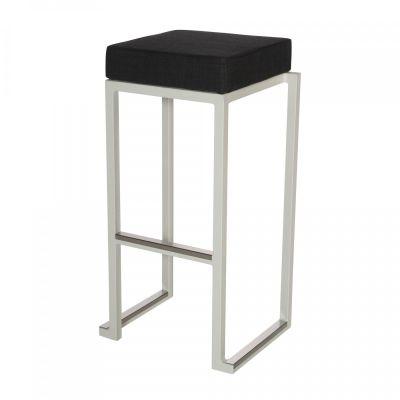 Fern Box Barstool White Linen Black