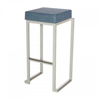 Fern Box Barstool White Linen Blue