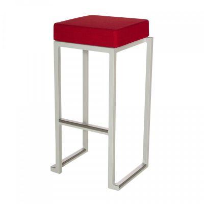 Fern Box Barstool White Linen Red