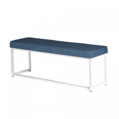 Fern Lounge Sofa White Frame Blue Linen