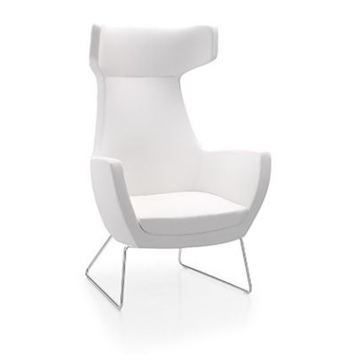 Oregon-Chair-Chrome-Skid-frame White