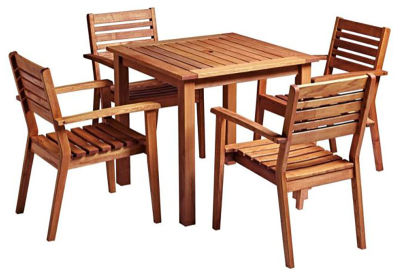 Trafford Square Wooden Table & Armchair Bundle
