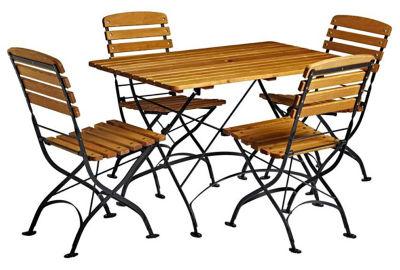 Terrace Folding Wooden Table & Chair Bundle
