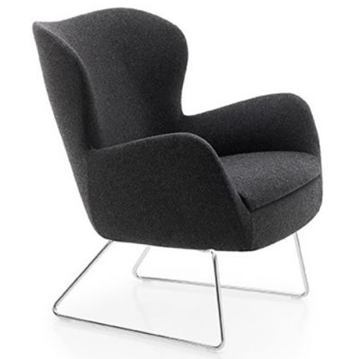 Antibacterial Fabric Armchair With Sled Frame