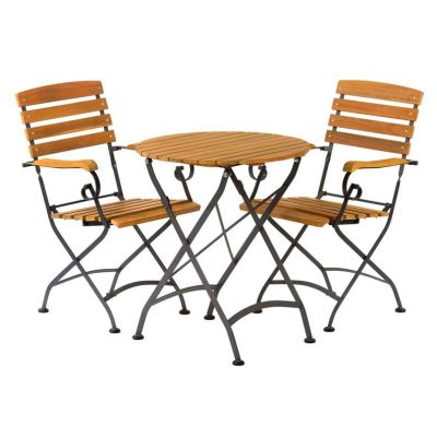 Sherwood Folding Round Bistro Dining Arm Chair Set Angle