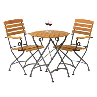 Sherwood Folding Round Bistro Dining Arm Chair Set Wine
