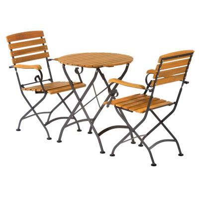Sherwood Folding Round Bistro Dining Arm Chair Set