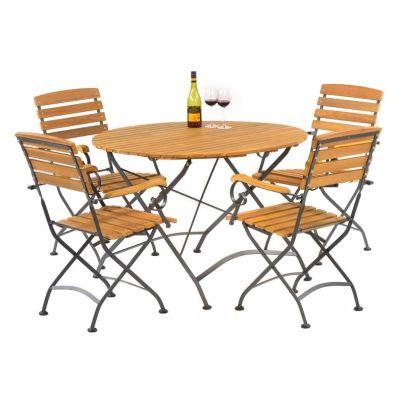 Sherwood Large Folding Round Dining Arm Chair Set 2