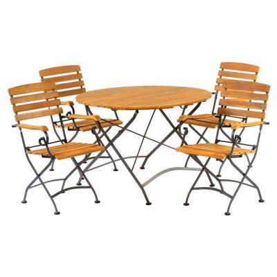 Sherwood Large Folding Round Dining Arm Chair Set No