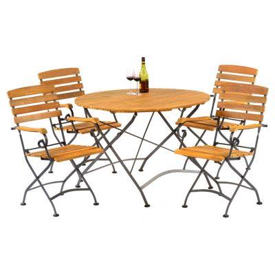 Sherwood Large Folding Round Dining Arm Chair Set