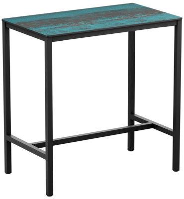 4-leg Vintage Teal Rectangular HPL Poseur Table
