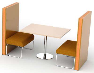 Setta 2 Person Dining Booth Without Back Cushions