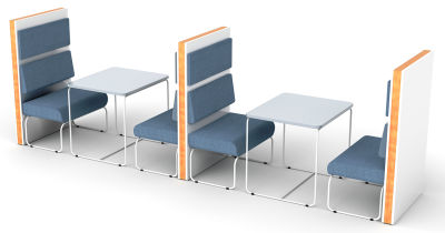 Setta 4 Person Booth With Loop Frame Seating And Tables