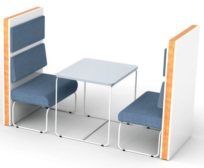 Setta 2 Person Vinyl Booth With Back Cushions