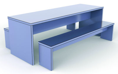 Single Colour Designer Bench - Blue