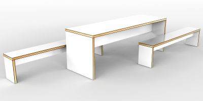 Mora Dining Benches In White