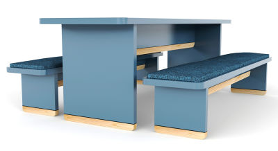 Designer Breakout Dining Table & Bench Set - Blue