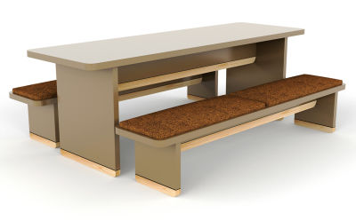 Designer Breakout Dining Table & Bench Set - Brown