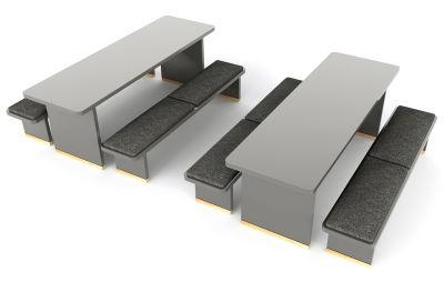Designer Breakout Dining Table & Bench Set - Grey