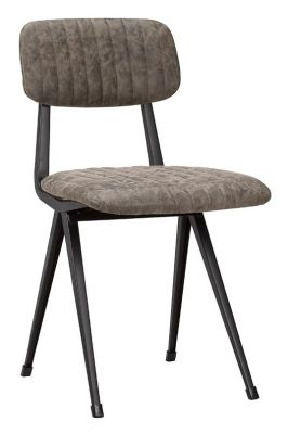 Anona Side Chair Grey Brown Vintage Laeather