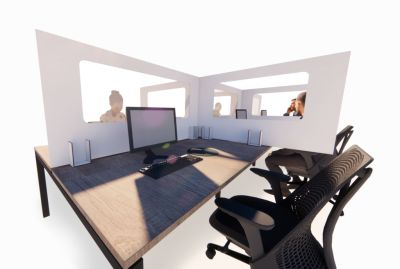 Peart Desk Protective Screen Corner Point Of View