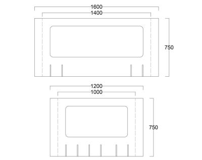 Peart Desk Protective Screen Dimensions