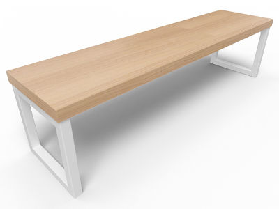 Axim Bench 1600mm - Oak With White Frame