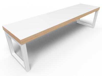 Axim Bench 1600mm - White + Oak Edge With White Frame