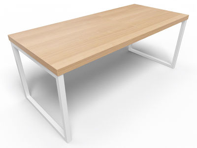 Axim Bench Table 1800mm - Oak With White Frame