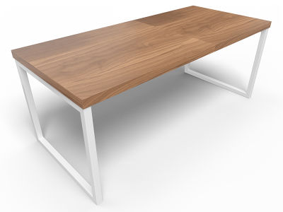 Axim Bench Table 1800mm - Walnut With White Frame