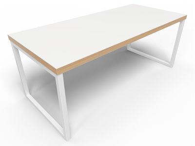 Axim Bench Table 1800mm - White + Oak Edge With White Frame