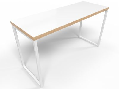 Axim Poseur Table 1900mm - White + Oak Edge With White Frame