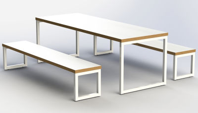 Axim Loop Frame Bench Dining Set - Angle